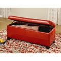 Red Synthetic Leather Storage Bench