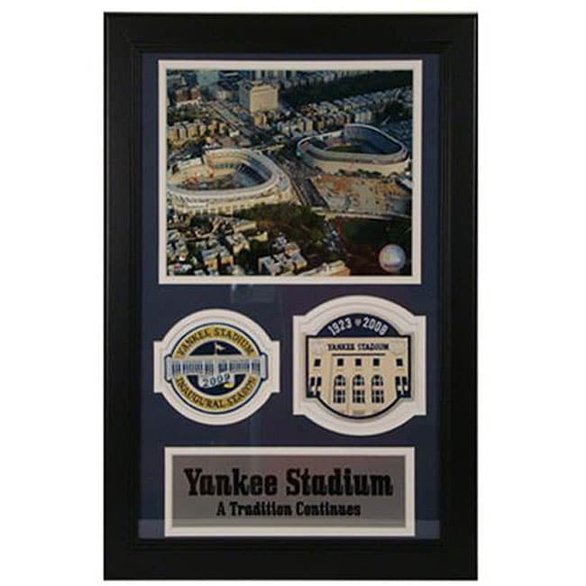 Yankee Stadium 'Old and New' Double Patch Framed Photo