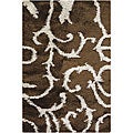 "Handwoven Brown Shag Area Rug (7'9"" x 10'6"")"