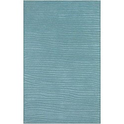 Hand-tufted Blue New Zealand Wool Mandara Rug (5' x 7'6)