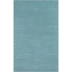 "Hand-Tufted Mandara Striped Blue New Zealand Wool Rug (7'9"" x 10'6"")"