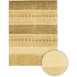 Hand-knotted Mandara Beige New Zealand Wool Rug (5' x 7'6)