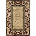 "Hand-Tufted Mandara Burgundy New Zealand Wool Area Rug (5' x 7'6"")"