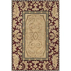 Hand-tufted Mandara Burgundy New Zealand Wool Rug (7'9 x 10'6)