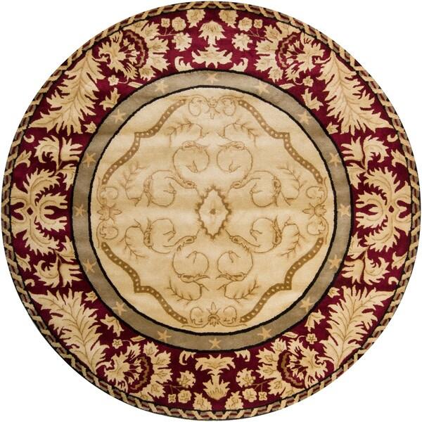 Hand-tufted Mandara Burgundy New Zealand Wool Rug (7'9 Round)