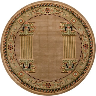 "Hand-Tufted Contemporary Mandara New-Zealand-Wool Rug (7'9"" Round)"