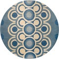 Hand-Tufted Blue/White Mandara Wool Rug (7'9 Round)