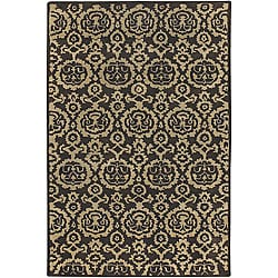 Hand-Tufted Brown Transitional Mandara Wool Rug (7'9 Round)