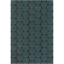 Hand-Tufted Green/Black Brown Mandara Wool Rug (7'9 x 10'6)
