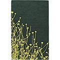 Hand-Tufted Green New Zealand Wool Mandara Floral Rug (5' x 7'6