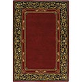 Hand-Tufted Bordered Red Mandara Wool Rug (7'9 x 10'6)