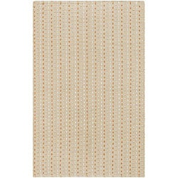 Hand-woven Ivory Wool/ Poly Mandara Rug (5'6 x 7'9)