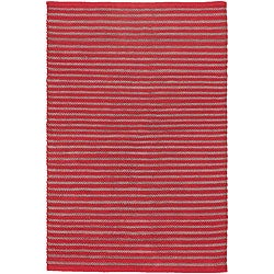 Hand-woven Red Wool/ Polyester Mandara Rug (5'6 x 7'9