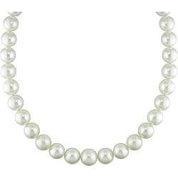 Miadora White South Sea Pearl and Diamond Necklace (13-15 mm)