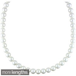 Miadora Signature Collection 14k Gold White 9-10 mm South Sea Pearl/ Diamond Necklace (18 or 20 inch)