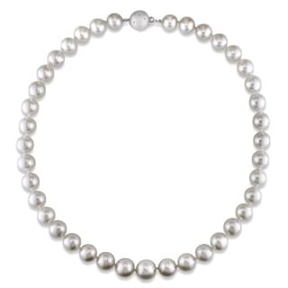 Miadora Signature Collection 14k Gold White 9-10 mm South Sea Pearl/ Diamond Necklace (18 or 20 inch)