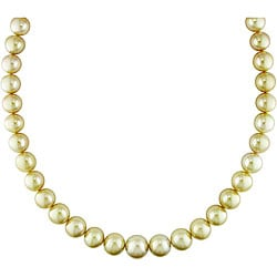 Miadora 14k Gold South Sea Pearl and Diamond Necklace (10-14 mm)