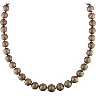 Miadora Signature Collection Brown Tahitian Pearl and Diamond Necklace (10-13 mm)