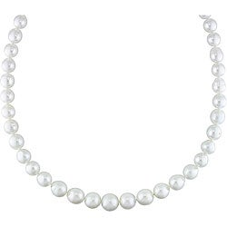 Miadora 14k Gold White South Sea Pearl/ Diamond Necklace (9-12 mm)