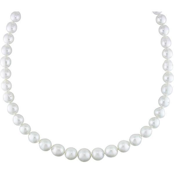 Miadora Signature Collection 14k Gold White South Sea Pearl/ Diamond Necklace (9-12 mm)