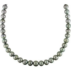 Miadora 14k Gold Black Tahitian Pearl/ Diamond Necklace (10-13 mm)