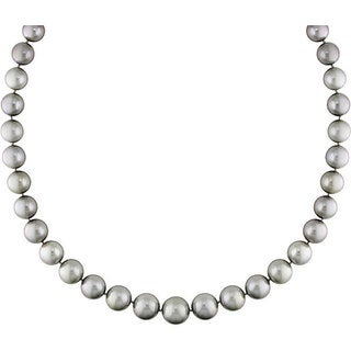 Miadora Signature Collection 14k Gold Tahitian Pearl/ Diamond Necklace (10-13.5 mm)