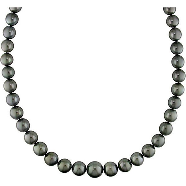 Miadora Signature Collection 14k Gold Black Tahitian Pearl/ Diamond Necklace (10-13 mm)