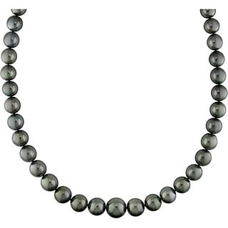 Miadora Signature Collection 14k Gold Black Tahitian Pearl/ Diamond Necklace (10-13 mm)