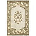 Hand-knotted Beige New Zealand Wool Bengal Rug (2'6 x 12')