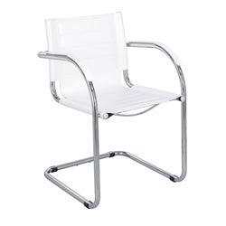 Safco Flaunt White Leather Guest Chair
