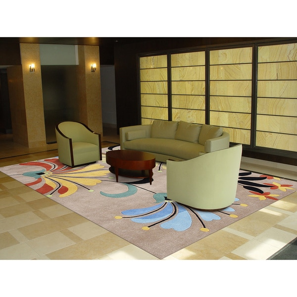 Eastern Colors Brown Hand-tufted Wool Rug (4' x 6')