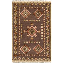 Hand-woven Red/Brown Southwestern Aztec Jewel Tone II Hard Twist Wool Rug (2'6x 8')