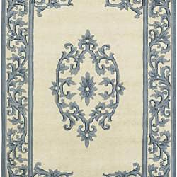 Hand-knotted Teal New Zealand Wool Bengal Rug (3'6 x 5'6)