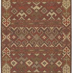 Hand-woven Orange/Brown Southwestern Aztec Laredo  Wool Rug (2'6 x 8')