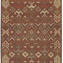 Hand-woven Orange/Brown Southwestern Aztec Laredo Wool Rug (2'6 x 8')