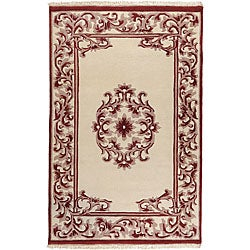 Hand-knotted Burgundy New Zealand Wool Bengal Rug (2'6 x 8')