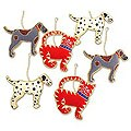 Set of 6 'Dogs and Cats' Ornaments (India)