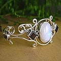 'Grace' Moonstone and Garnet Cuff Bracelet (India)