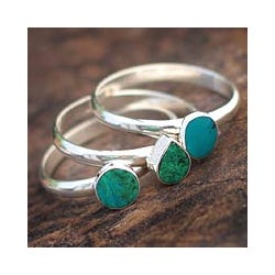 Set of 3 Sterling Silver 'Ocean Depths' Chrysocolla Rings (Peru)