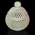 'Lattice Lace' Large Soapstone Jar Sculpture (India)