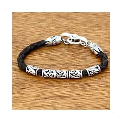 Sterling Silver and Braided Leather Men's 'Glory' (Indonesia)