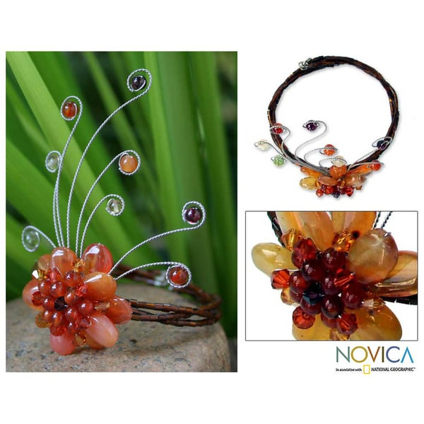 Chalcedony and Garnet 'Dream Flower' Wrap Bracelet (Thailand)