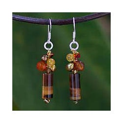 Pearl and Tiger's Eye 'Insightful' Dangle Earrings (Thailand)
