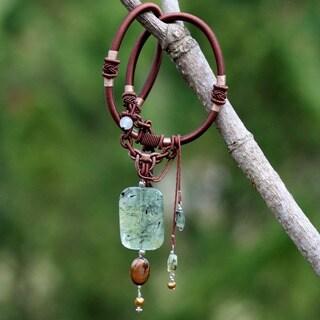 Pearl and Prehnite 'Royal' Y Necklace (Thailand)