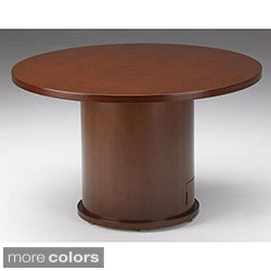 Mayline Mira Wood Veneer Round Conference Table with Drum Base