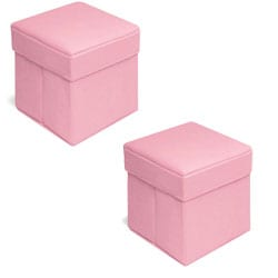 Badger Basket Pink Basket Folding Storage Seats (Pack of 2)