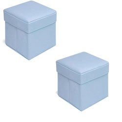 Badger Basket Blue Folding Storage Seats (Pack of 2)