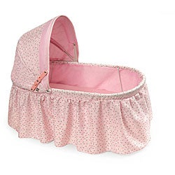 Badger Basket Rosebud Fabric Folding Doll Cradle