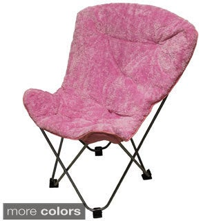 International Caravan Folding Butterfly Chair with Padded Faux Fur Seat and Carry Bag