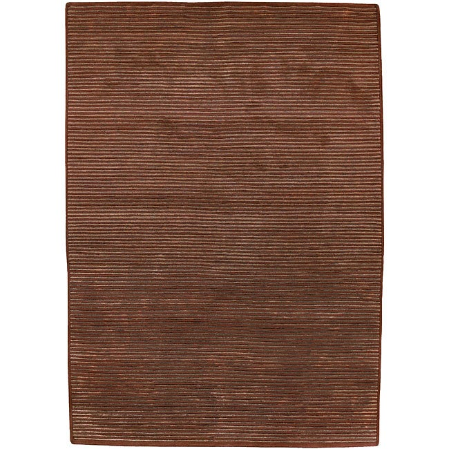 Hand-knotted Solid Brown Karur Semi-worsted New Zealand Wool Rug (5' x 8')